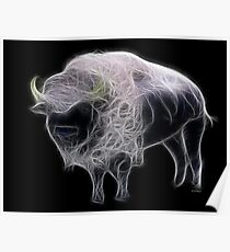 Medicine Wheel Totem Animals by Liane Pinel- White Buffalo Poster