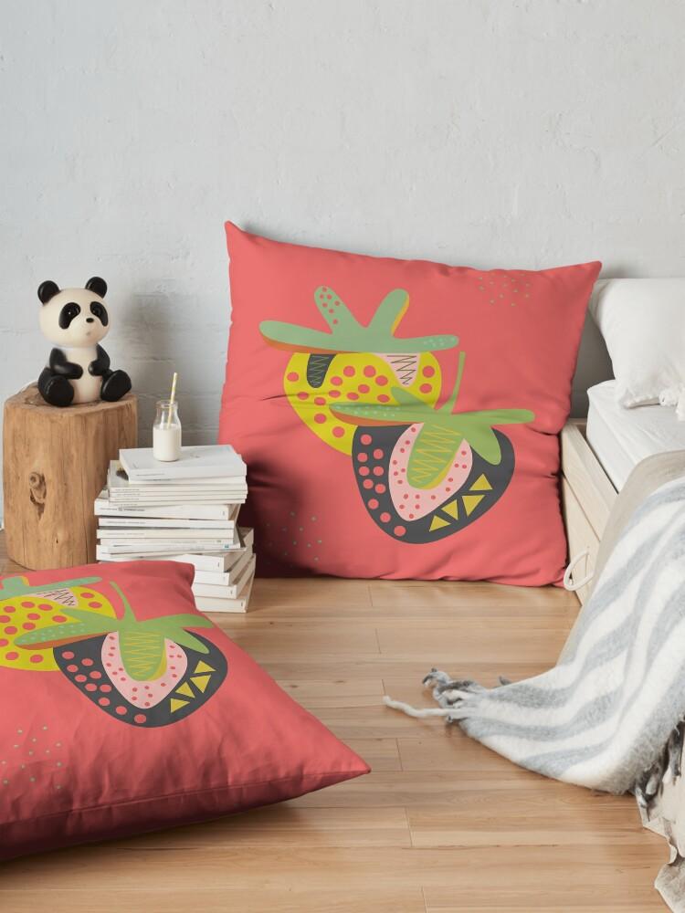 Alternate view of Strawberries Floor Pillow