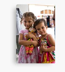 Girls and dolls Canvas Print
