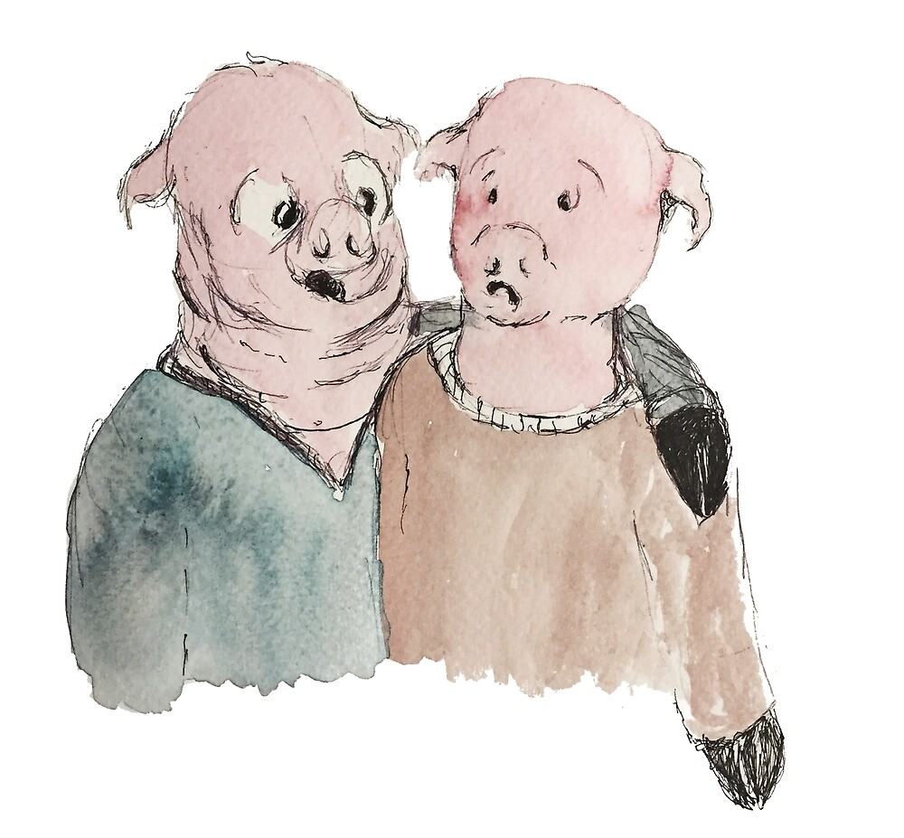 Pig Buddies by MeredithElaine