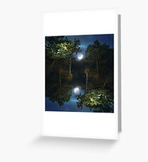 Moonset in coniferous forest Greeting Card