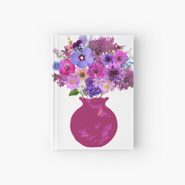 Magenta vase bouquet sticker Hardcover Journal