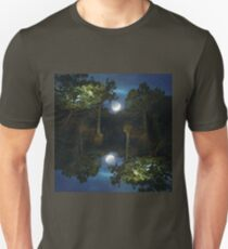 Moonset in coniferous forest Unisex T-Shirt