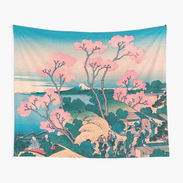 Spring Picnic under Cherry Tree Flowers, with Mount Fuji background Tapestry