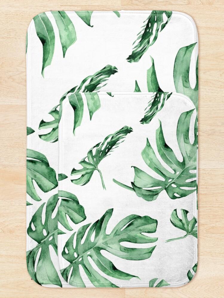 Alternate view of Monstera Pattern Green Bath Mat