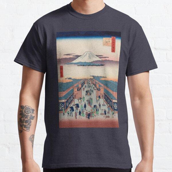 Mount Fuji above Ancient Street Ukiyo-e Japanese Art Classic T-Shirt