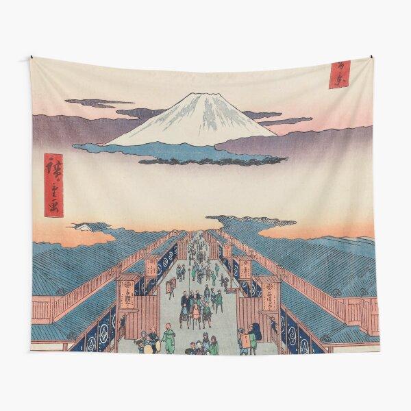 Mount Fuji above Ancient Street Ukiyo-e Japanese Art Tapestry