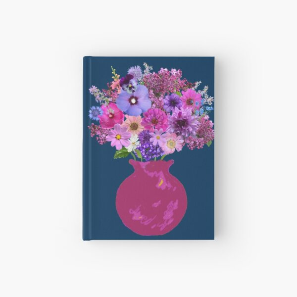 Magenta vase still life on marine blue by Tea with Xanthe Hardcover Journal