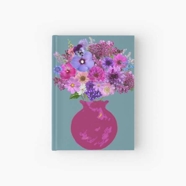 Magenta vase still life on seaglass blue by Tea with Xanthe Hardcover Journal