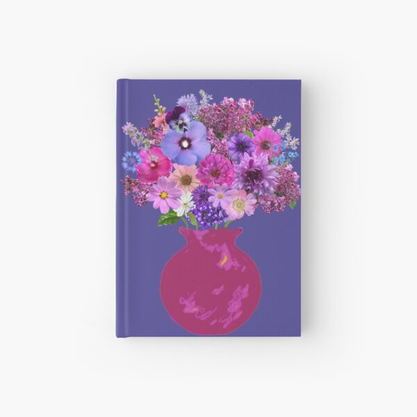 Magenta vase still life on deep periwinkle by Tea with Xanthe Hardcover Journal