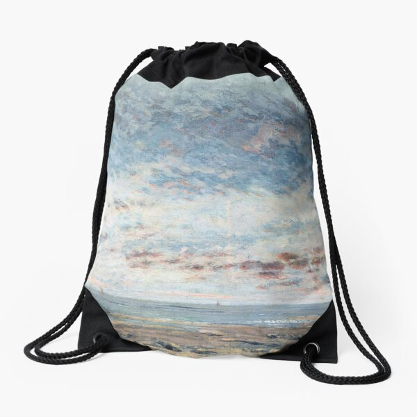 Low Tide at Trouville, Gustave Courbet Drawstring Bag