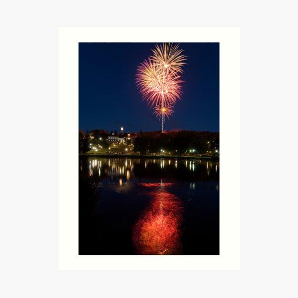 Small Town Fireworks Art Print