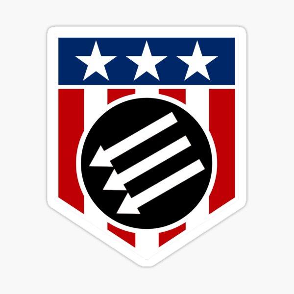 American Iron Front Shield (White Border)  Sticker