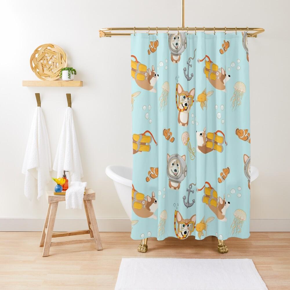My Corgi World - Majesty Pembroke - Cute welsh cardigan corgis are diving Shower Curtain