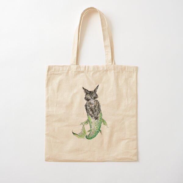 Black Cat Mermaid  Cotton Tote Bag