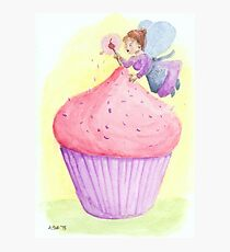Cherry fairy makes a cupcake Photographic Print