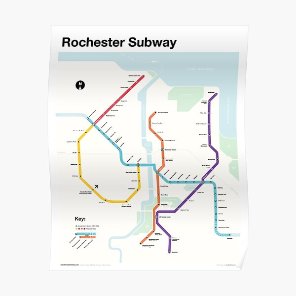 Rochester Subway (Fantasy Metro Map, Rochester, New York) Poster