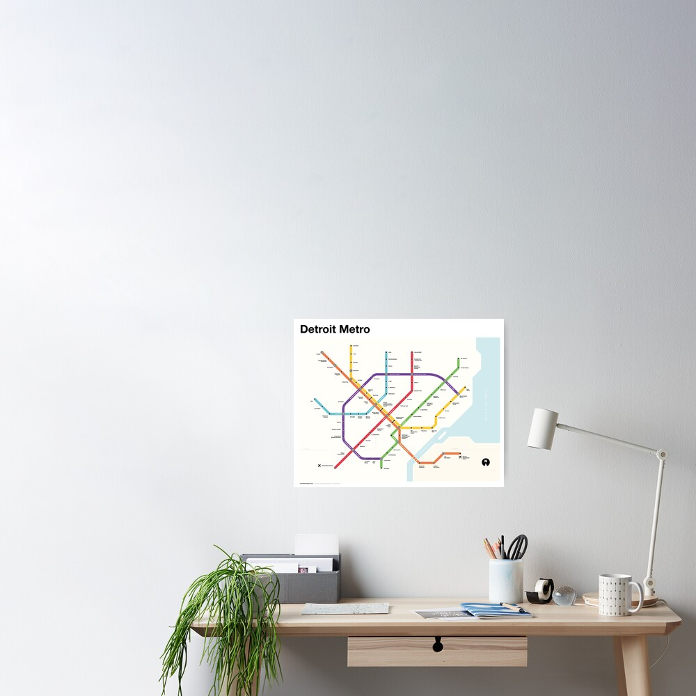 Detroit Metro (Fantasy Subway Map, Detroit, Michigan) Poster