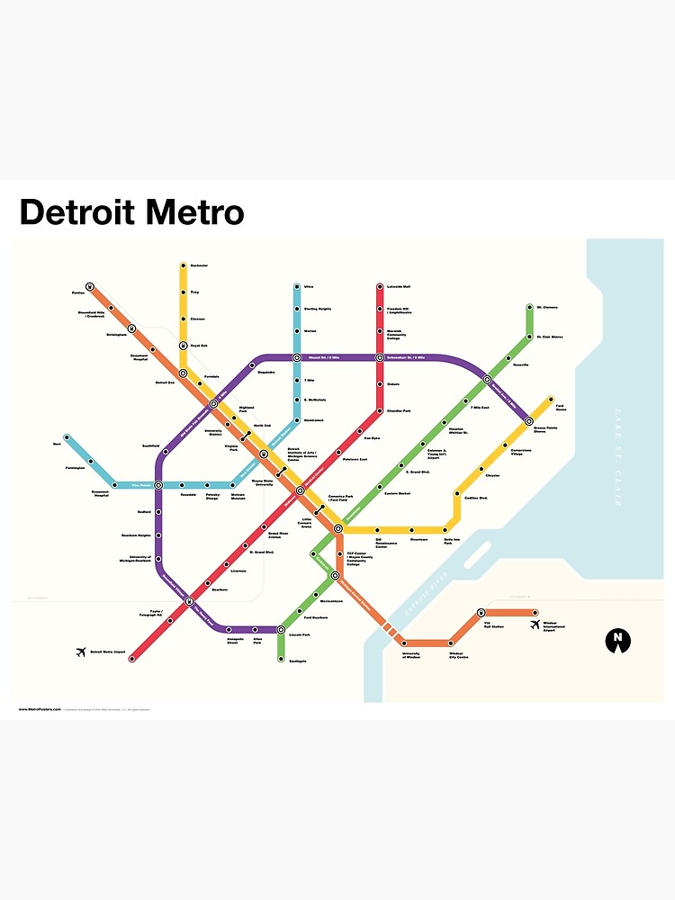 Detroit Metro (Fantasy Subway Map, Detroit, Michigan) by MetroPosters
