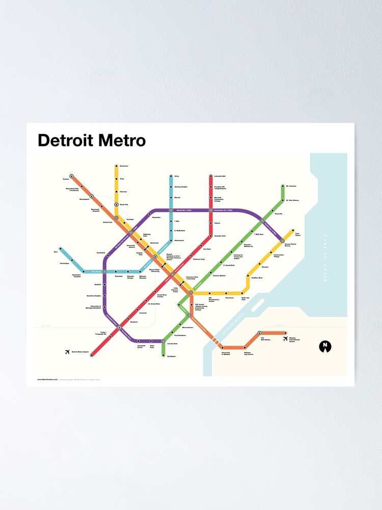 Alternate view of Detroit Metro (Fantasy Subway Map, Detroit, Michigan) Poster
