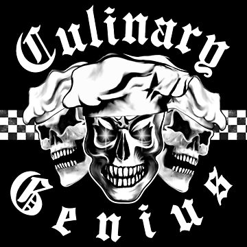 Chef Skull Trio: Culinary Genius (white text) by sdesiata