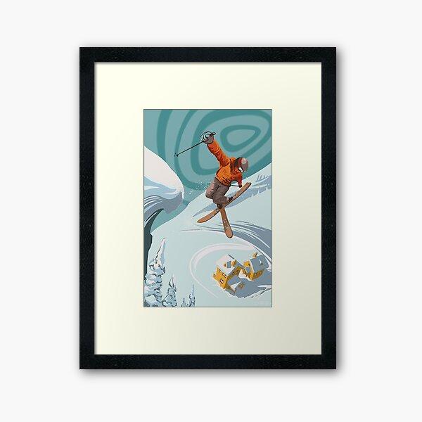 Retro Freestyle Alpine ski jumper Poster Framed Art Print