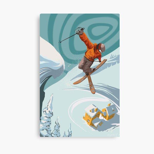 Póster Retro Freestyle Alpine ski jumper Lienzo
