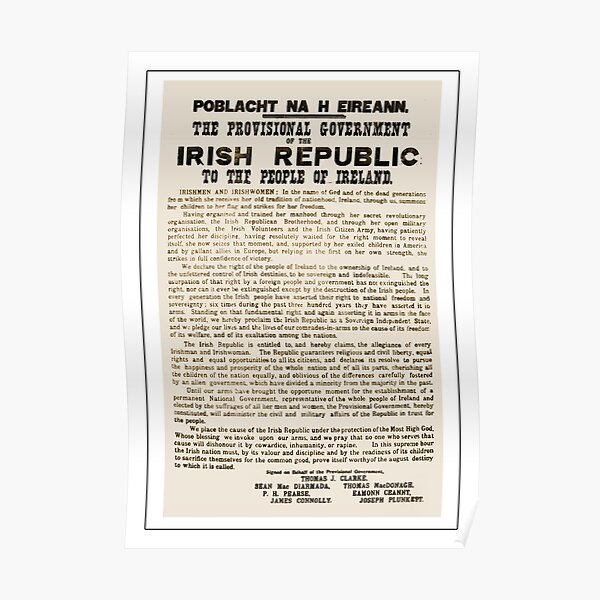1916 Proclamation of the Irish Republic Poster