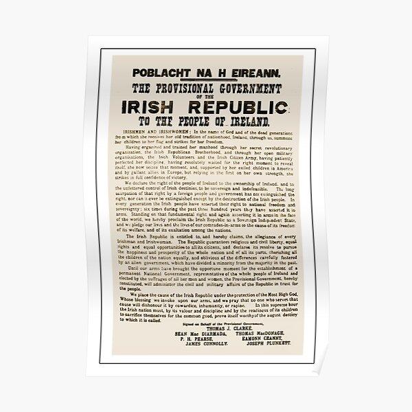 1916 Proclamación de la República de Irlanda Póster