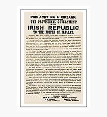 1916 Proclamation of the Irish Republic Photographic Print