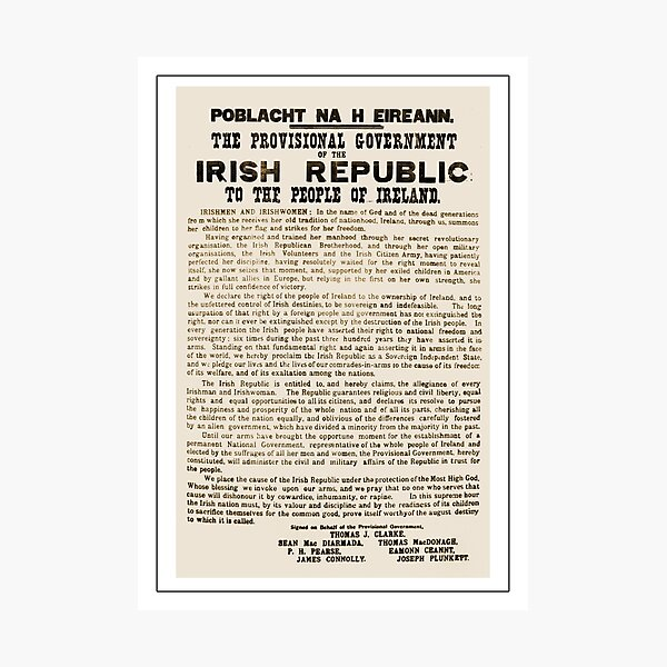 1916 Proclamation of the Irish Republic Photographic Print