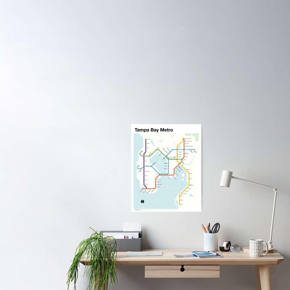 Tampa Bay Metro (Fantasy Subway Map, Tampa, Florida) Poster