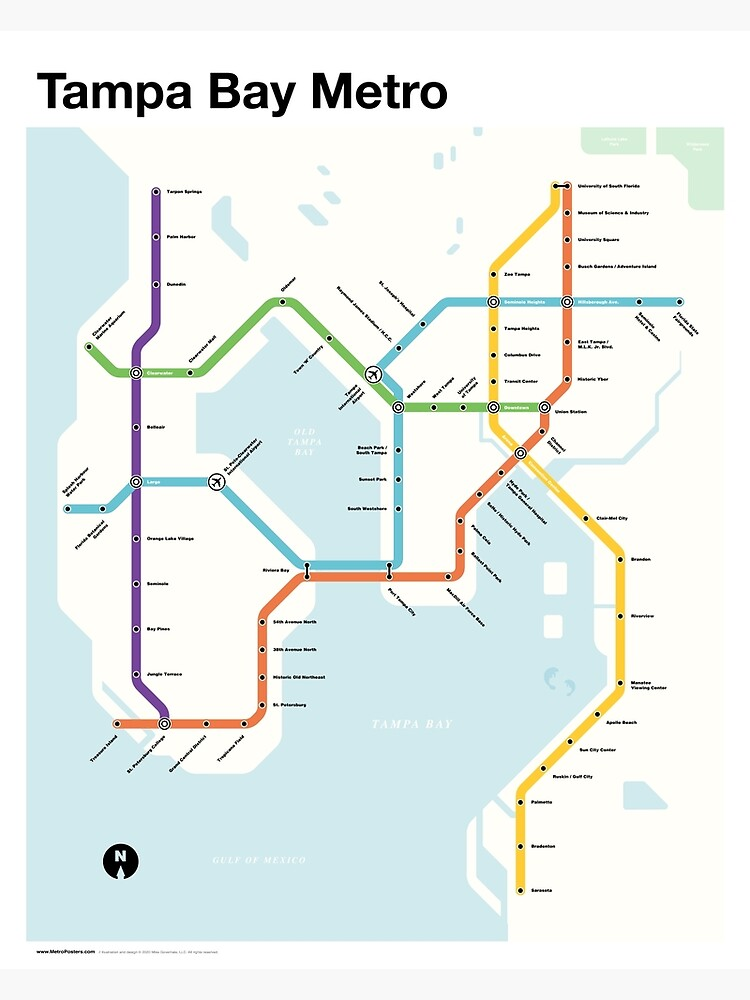 Tampa Bay Metro (Fantasy Subway Map, Tampa, Florida) by MetroPosters