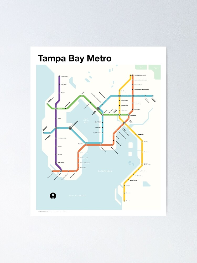 Alternate view of Tampa Bay Metro (Fantasy Subway Map, Tampa, Florida) Poster