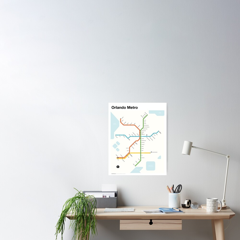 Orlando Metro (Fantasy Subway Map for Orlando, Florida) Poster