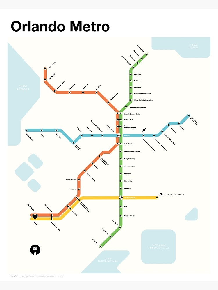 Orlando Metro (Fantasy Subway Map for Orlando, Florida) by MetroPosters