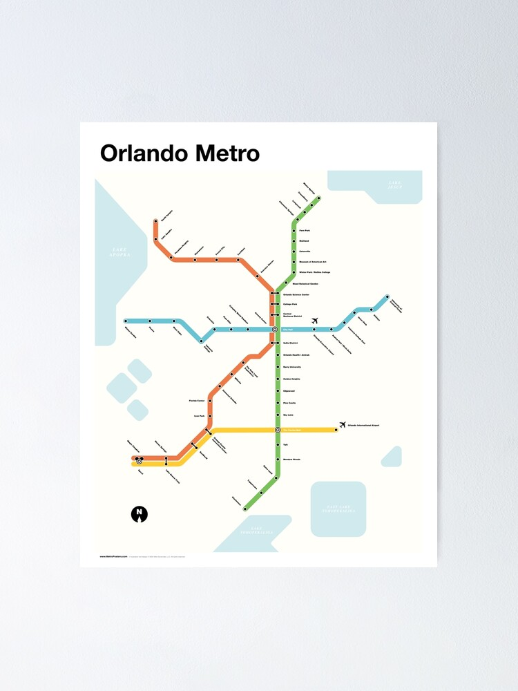 Alternate view of Orlando Metro (Fantasy Subway Map for Orlando, Florida) Poster