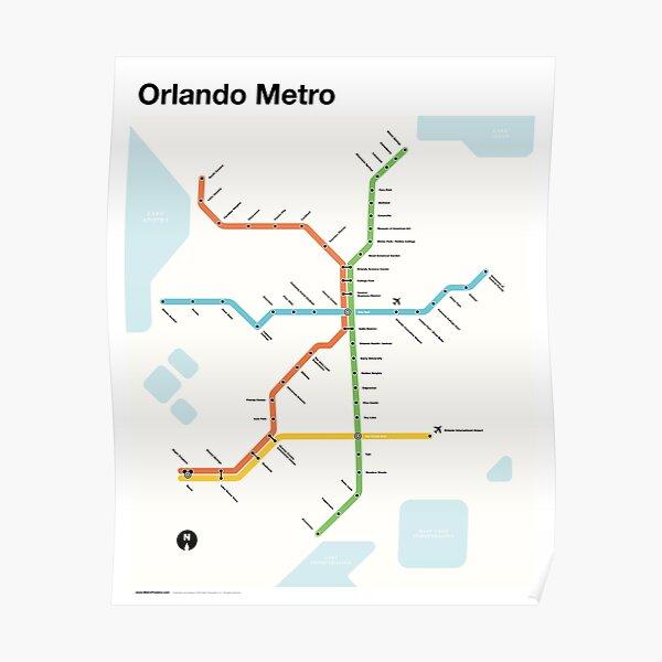Orlando Metro (Fantasy Subway Map for Orlando, Florida) Poster