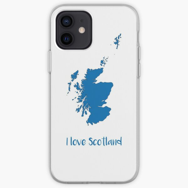 I love Scotland Map and Text Design iPhone Soft Case
