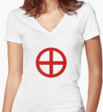 Red Point Circle Women's Fitted V-Neck T-Shirt