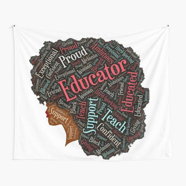 Black Educator Teacher Words in Afro Art Tapestry