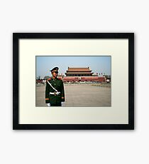 Standing to attention in Tian'an men square Framed Print
