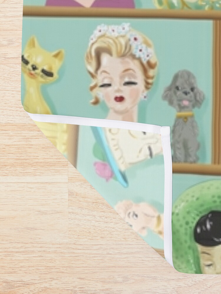 Alternate view of Collectible Lady Head Vases Vintage Kitsch with Cats and Dogs Shower Curtain