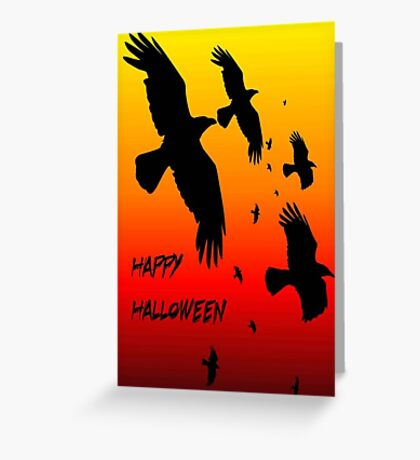 Happy Halloween Murder of Crows Against Sunset Greeting Card