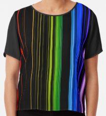 Vertical Rainbow Bars Chiffon Top