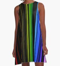 Vertical Rainbow Bars A-Line Dress