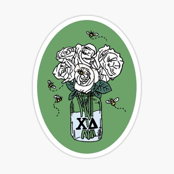 Chi Delta White Rose Mason Jar Sticker