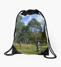 The Aussie farm fence Drawstring Bag