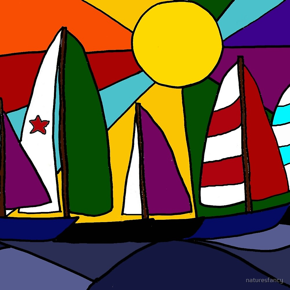 Awesome Sailboats in the Sun Rainbow Colored Art by naturesfancy