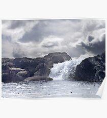 Ocean Waterfall Poster